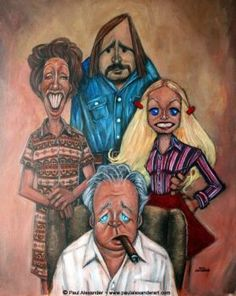 ''All in the family'' television series illustrated by Paul Alexander Cartoon Faces, Funny Faces, Cartoon Art, Cartoon Characters, Funny Caricatures, Celebrity Caricatures, Archie Bunker, All In The Family, Family Tv
