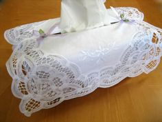 Cotton Tissue Box Cover with a Battenburg Lace Overlay