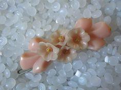 vintage barrette pink with tinypink flowers by rosebudcottage