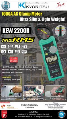 #Kyoritsu 2200 AC Digital Clamp Meter Slim and lightweight, the Kyoritsu 2200 AC #DigitalClamp_Meter has 33mm tear drop shaped jaws that make it easy to use in tight places. • 1000A AC Clamp Meter/AC40/400/1000A Auto Range • DMM function ACV, DCV, Ω, Continuity Buzzer • Fuseless #electronic_protection on up Ω/ to 600V • IEC61010-1 Safety Standard/CAT.III 600V (AC A)/CAT.III 300V / CAT.II 600V (AC/DC V)