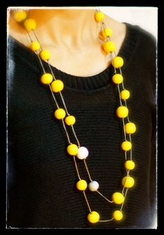 Polymer Clay Extra Long Necklace with Yellow White & by Kyrality, $45.00