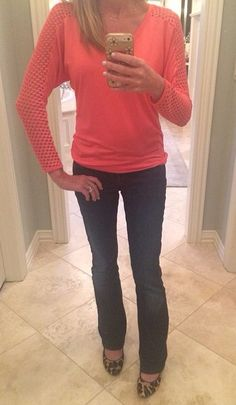 like the coral long sleeve top