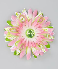 Take a look at this Lime Green & Pink Rhinestone Flower Clip by Fairy Bow Mother on #zulily today!