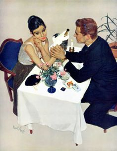 "https://flic.kr/p/dHCFXX | Kurt Ard | I wonder what part of NO he doesn't understand. Read her body language, pay the bill, and move on. This painting illustrated the story ""Pretend You Love Me"" in the Saturday Evening Post in February 1958."