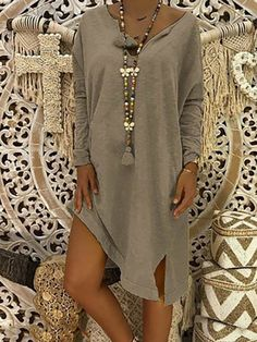 Women Plus Size Mid-length Loose Casual Dress – lalasgal Types Of Sleeves, Dresses With Sleeves, Sleeve Dresses, Half Sleeves, Casual Dresses, Summer Dresses, Dresses Dresses, Casual Outfits, Wrap Dresses