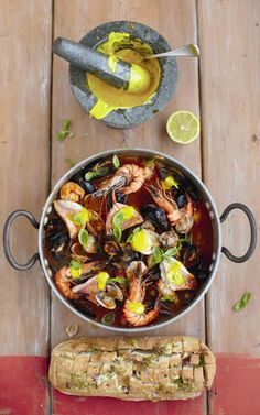 Jamie Oliver 15-minute meals fish stew with garlic bread and cheat saffron aioli - allaboutyou.com
