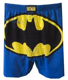 Batman Trademark Bat Logo Blue Boxer  Gotham City is soon to be safe! These 100% cotton boxers for men feature a distressed version of the DC Comics Batman Trademark Bat Logo on a blue background. The rear very simply reads 'Bat-Man' in yellow across and image of his extended wings. Very cool! Machine washable with an open fly and an exposed elastic waistband. $13.50