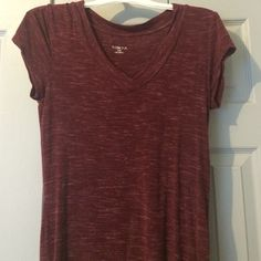Burgundy Top Rayon Spandex material , really cute , great condition Merona Tops Tees - Short Sleeve