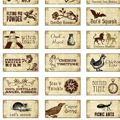 Miniature Dollhouse Fantasy Potion Labels I for tiny witch dolls jewelry decoupage potion bottles props. $4.50, via Etsy.