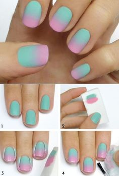 New nails sencillas degrade ideas Cute Nail Art, Easy Nail Art, Cute Nails, Stylish Nails, Trendy Nails, Nagellack Design, Nails For Kids, Unicorn Nails, Crazy Nails