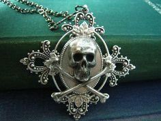 Skull Jewelry, Gothic Jewelry, Antique Jewelry, Pirate Jewelry, Skull Fashion, Gothic Fashion, Skull And Crossbones, Skull And Bones, Diamond Are A Girls Best Friend