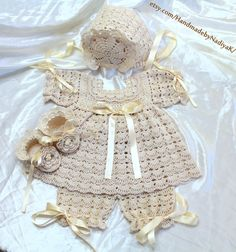 Baptism. Blessing. Christening set  booties, bonnet, gown, pants. Size 0-03 M. Cotton.Ready item. on Etsy, $136.30