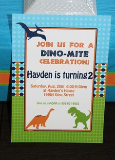 Invites from a Dinosaur Party