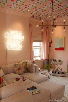 #Neon sign and removable wallpaper in the Teen Girls' Hangout Room