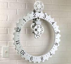 The Hands Free Gear Clock from Hammacher Schlemmer. Shop more products from Hammacher Schlemmer on Wanelo. Cool Clocks, Unique Wall Clocks, Diy Wall, Wall Decor, Gear Clock, Wall Clock Design, Clock Wall, Hanging Clock, Hammacher Schlemmer