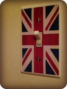 PINTEREST SALE- Aged Union Jack British Flag Light Switch Cover Plate. $5.99, via Etsy.
