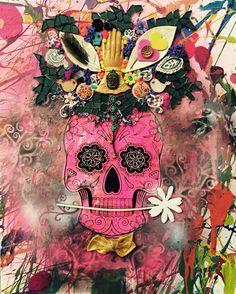 Multimedia sugar skull on canvas