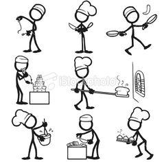 Stickfigure cooking Royalty Free Stock Vector Art Illustration