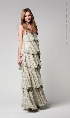 I love the delicate gray floral on the cream background in this beautiful Paper Crown dress.