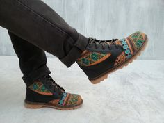 Ikat canvas black leather shoes US 9 men boots handmade Rangkayo sneakers autumn fall - pinned by pin4etsy.com