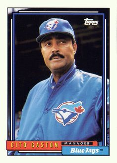 Find 1992 Topps Toronto Blue Jays Baseball Card Cito Gaston MG in the Sports Memorabilia, Cards & Fan Shop - Cards & Stickers - Baseball - Non-Graded category in Webstore online auctions Rangers Baseball, Sports Baseball, Sports Teams, Blue Jay Way, Go Blue, Blue Jays World Series, Upper Deck Baseball Cards, Baltimore Orioles Baseball, Toronto Blue Jays