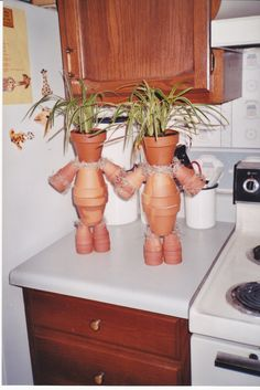 Plant People...spanish moss, terracotta pots (3 lg 14 sm), wire, and plant of choice