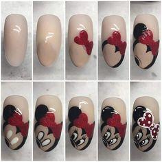 ideas for nails disney minnie nailart Teal Nail Designs, French Nail Designs, Nail Designs Spring, Mickey Mouse Nail Art, Minnie Mouse Nails, Glitter Manicure, Diy Manicure, Nail Art Hacks, Hello Nails