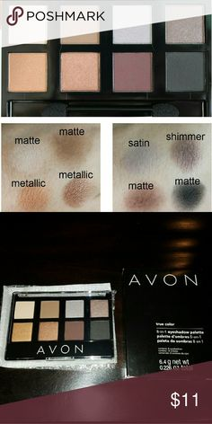AVON 8-in-1 Eyeshadow Palette Gorgeous shades of eyeshadow mix and match beautifully to create your favorite signature looks.   BENEFITS - Provides true color payoff; Feels ultra comfortable on lids; Blendable formula that glides over lids easily; Go from day to night with one palette; Silky, velvet finish  WITH TRUE COLOR TECHNOLOGY - The rich color you see in the compact is the same color you get on your eyes; Rich, vibrant color with crease-proof wear; Color saturated shades designed for…