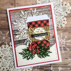 card christmas cup cups plaid buffalo check paper, snowflake, berry branches pine branches, SewPaperPaint: Coffee Christmas card using Fresh Brewed Bigz Die Christmas Paper Crafts, Homemade Christmas Cards, Stampin Up Christmas, Noel Christmas, Handmade Christmas, Homemade Cards, Christmas Music, Diy Christmas Cards Cricut, Stampinup Christmas Cards