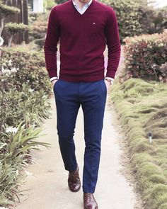 Burgundy sweater, blue pants