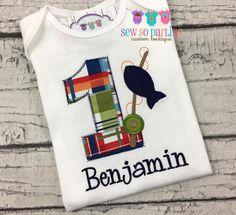Boy Fishing Birthday Shirt  Fishing Birthday Outfit  Boy 1st