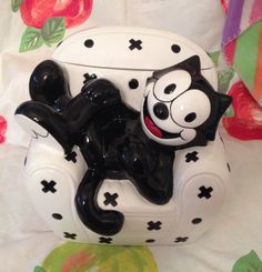 Amazing Felix the Cat Clay Art Cookie Jar by Timelessthings17