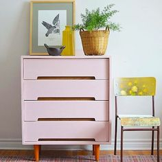 Beautiful dresser from Poppyseed Creative Living. The drawers were painted with Antoinette Chalk Paint® and Barcelona Orange on the legs   MidCentury Style Decor