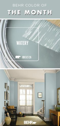 living room paint color ideas Color of the Month: Watery. It should come as no surprise that the Behr Color of the Month for January is Watery. This pastel blue hue is chic Behr Paint Colors, Bedroom Paint Colors, Paint Colors For Home, Bathroom Colors, House Colors, Bathroom Beach, Paint Colors For Furniture, Kitchen Paint Colours, Entry Paint Colors