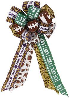 "26""L PREMADE BOW-LSU FOOTBALL #bow #LSU #tigers #football #craigbachman"