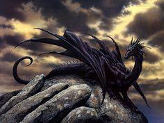 dragão | Papel de Parede Dragão Negro