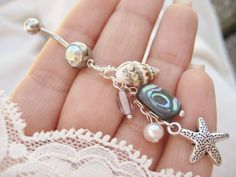 Belly Button Jewelry Ring Abalone Real Seashell by Azeetadesigns, $17.00