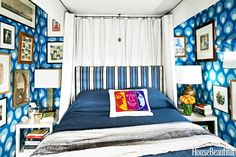Swath your walls in an exuberant cobalt ikat print, like textile designer Peter Dunham did in his Los Angeles apartment.