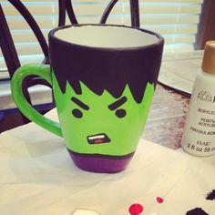 Mini hulk ceramic mug. The boyfriend is a big hulk fan so I made this him for his birthday (: Got the idea from ETSY. Use non toxic paints!