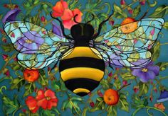 bee painting on silk by Holly Carr, love the vibrant colors Bee Painting, Silk Painting, Encaustic Painting, Buzz Bee, Brindille, I Love Bees, Bee Art, Bee Happy, Save The Bees