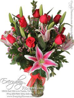 Dozen Red Roses With Stargazer Lilies