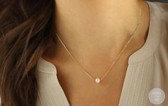 Tiny Freshwater Pearl Necklace Gift for her by FeminaHandmade