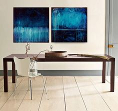 Original Abstract Painting Acrylic Painting by M.Schöneberg Blue Explosion Large Painting  Wall Art 48x24x0,75 Free Shipping Express