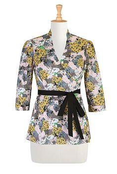 Floral patch print wrap top