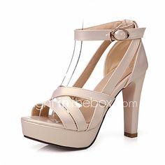 a1e9e53f Mujer Chica Zapatos Semicuero Primavera Verano Otoño Tacón Cuadrado Plataforma  Hebilla Poroso para Boda Vestido Fiesta y Noche Negro
