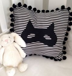 Superhero black and white monochrome pompom by NestNFeather Kids Rooms, Monochrome, Nest, Feather, Cushions, Nursery, Throw Pillows, Superhero, Black And White