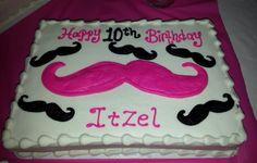 Girl Mustache birthday cake for emily 10th Birthday Cakes For Girls, Mustache Birthday Cakes, Mustache Cake, 10 Birthday Cake, Little Man Birthday, 9th Birthday Parties, Mustache Party, Bday Girl, 11th Birthday