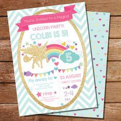 Unicorn Party Invitation  Gold Glitter Rainbow by SunshineParties