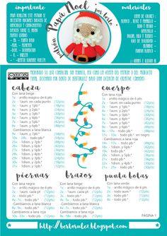 Patrones Navideños: Papa Noel Crochet Geek, Crochet Dolls, Free Crochet, Crochet Hats, Crochet Christmas Ornaments, Christmas Crochet Patterns, Crochet Earrings Pattern, Amigurumi Doll, Snoopy Amigurumi