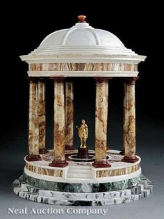 A Large Octastyle Circular Tempietto of the Tuscan Order, Inlaid with Specimen Marbles - Continental School, 18th Century - Height: 17.5 inches (44.45 cm)